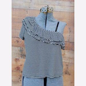 Splendid Black/White Striped One Shoulder Ruffled